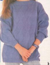 Lovely DK Ladies Sweater Jumper Contrast Knit Edge Knitting Pattern 34-38 Inch