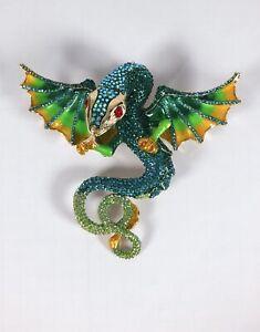 BUTLER & WILSON huge sparkly crystal flying serpent dragon brooch pin pendant