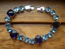 Sterling Silver Sapphire Blue and Topaz Blue Cubic Zirconia Bracelet 7.75""