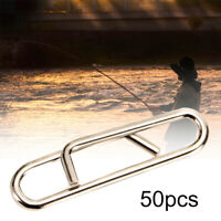 50Pcs Stainless Steel Fishing Snaps Fast Lock Clips for Lures Barrel Swivels