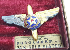 United States Air Corps Hat or lapel pin w box and tarnished 24 K gold plating