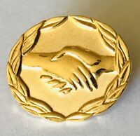 Golden Handshake AVON Advertising Pin Badge Rare Vintage (A6)