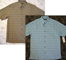 2pc Lot Via Europa Short Sleeve Button Front Plaid Shirt sz Small Lt. Blue/Brown