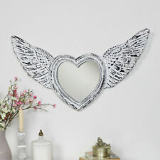Antique white angel wing frame wall mirror vintage shabby chic cherub home decor