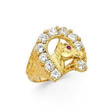 14K Gold Lucky Horse Shoe CZ Ring EJMR29833