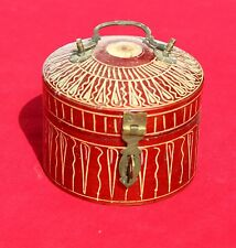Vintage Round Wooden Box With Lid & Handle And With Lining Design