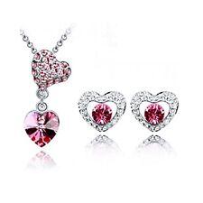 Parure argenté, cristal rose, transparent, coeur bijoux fantaisie neuf