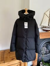 Zara Black Oversized Down Feather Hooded Coat XXL UK18 # P25