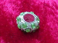 Großlochperlen, versilbert Strass Grün European Beads