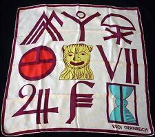 RUDI GERNREICH Symbols Pattern Colorful Silk Twill Scarf