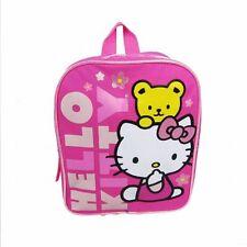 "Hello Kitty with Bear Pink 10"" Mini Backpack Teddy Flowers Girls School Book Bag"
