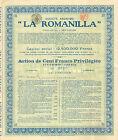 """SA """" La Romanilla """", accion preferente, 1923 (minas en Alcudia, Ciudad-Real)"""