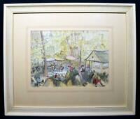 Original Art 1978 Yorkshire Watercolour Painting Titled 'Roadside Caff' Signed