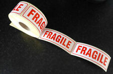 """10 Large FRAGILE Labels 140x53mm (6.5"""" x 2"""")  Top Quality Self Adhesive Sticky"""