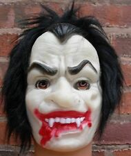 Vampire Rubber Face Mask With Hair Halloween Fancy Dress P5679