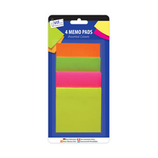 200 Neon Memo Stickers 75 x 75mm Sticky Notes Pad Adhesive Jot Down To Do Office