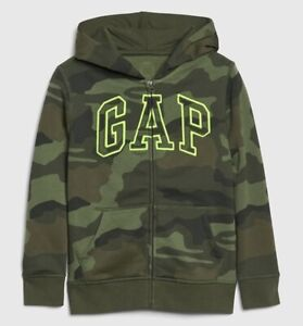 NWT Gap Kids Boys Size S(6-7) Logo Camo Hoodie Full Zip Sweatshirt