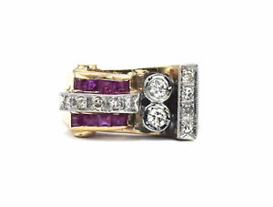 VINTAGE RETRO MODERN DIAMOND RUBY COCKTAIL RING 14K YELLOW WHITE GOLD SIZE 7