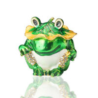 New Frog Trinket Box Crystals Hand Painted Jewelry Box Wedding Gift Ornament