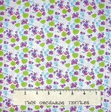 Calico Fabric - Lyndhurst Kawaii Purple Floral on White - Northcott 1.16 Yard
