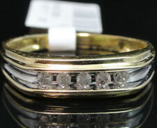 Men's 10K 100% Real Yellow Gold Genuine Diamond Wedding Engagement Band Ring New
