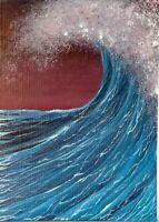ACEO Original Acrylic Miniature Seascape Ocean Sea Foam Waves ATC Art  HYMES