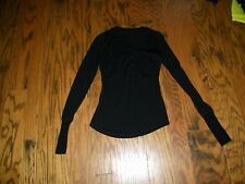 LuluLemon Women's Size 4 Black Long Sleeve Henley with Buttons