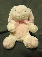"CARTER'S FLUFFY WHITE BUNNY RABBIT PLUSH STUFFED 9"" PINK TUMMY EARS FEET BOW"
