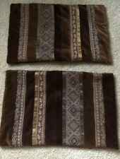 Set Of 2 Crate and Barrel Pillow Shams Velvet REGINA brown Quilted Small 12 X 18