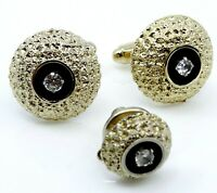 Vintage Cufflinks Set with Tie Tack Pin Quartz Chunky Round Textured Cuff Links