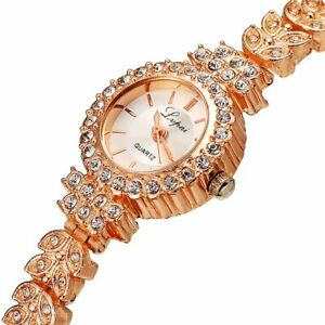 ROSE GOLD Watch Chronograph Fashion Style Crystals Bling Ladies Women Watches