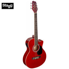 Stagg SA20ACE Full Size Cutaway Auditorium Style Acoustic Electric Guitar - Red