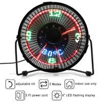 Mini USB Fan Table Desk Fans 3 in 1 LED Flashing Real Time Display Cooling Fan