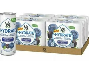 V8 +Hydrate Plant-Based Hydrating Beverage, Blueberry Acai, 8 oz. Can, 6 Count
