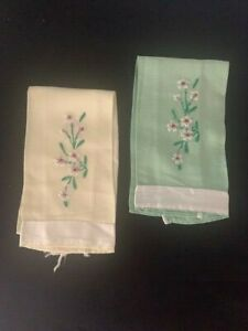 two vintage hand embroidered finger tip towels green and yellow