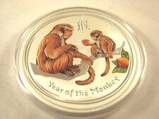 2016  Colored 2 Oz Silver Year Of Monkey Lunar Coin Perth Mint Australia
