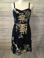 J. Crew Women's Sundress Embroidered Floral Spagetti Straps Navy Size 6 EUC