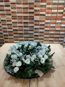 BEAUTIFUL WHITE ROSES & GYPSOPHILA GREEN FOILAGE RINGS WEDDING HOME DECOR