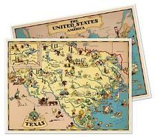 "Two Map Set - Texas & USA by Ruth Taylor White circa 1933 - 18"" x 24"" prints"
