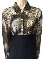 Vtg Animal Print 80s/90s Bohemian Spotty Boxy Shirt Blouse Bloggers Top UK 14 M