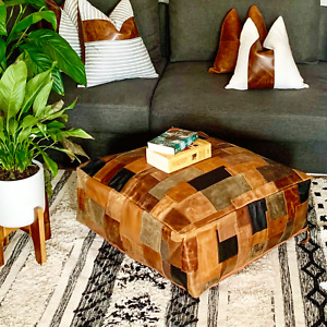 Genuine Cowhide Leather Moroccan Ottoman Coffee Table Pouf Footstool Beanbag