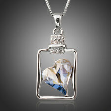 New Sparkly Shiny Blue Austria Crystal Heart in a Bottle Necklace Chain Pendant