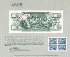 "BEP SOUVENIR CARD B100 ISSUED 1986 SHOWING1918 $10,000 FRN ""PILGRIMS"""