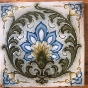 "Lovely Mintons Art Nouveau decorative tile, super condition, 6"" x 6"""