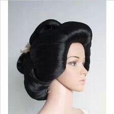 New !!! black Japanese Geisha Flaxen Hair Synthetic Daily Cosplay Wig
