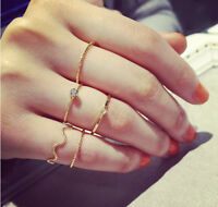 5PCS SET Women URBAN GOLD/SILVER STACK PLAIN ABOVE KNUCKLE RING BAND MIDI RINGS
