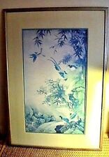 ❤️ LOVELY VINTAGE FRAMED DOUBLE MATTED JAPANESE MID CENTURY PRINT BIRDS BAMBOO