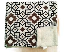 White Geometric Spanish Tile Print Throw Blanket 50x60 Soft & Silky