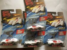 4- HOT WHEELS SPEED RACER CARS WITH JUMPJACKS,SAW,SPEAR SEALED BUBBLE SCALE 1-64