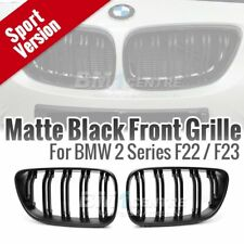 Matte Black Dual Slats Fin Kidney Front Grille for BMW 2 series F22 F23 F87 M2